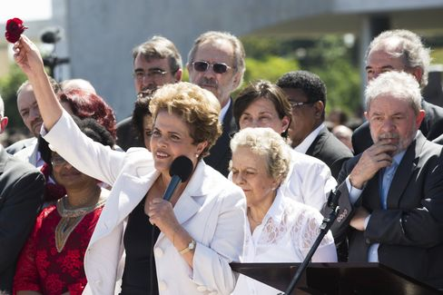 Departing the Planalto presidential palace.