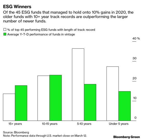 Older ESG Funds Outperform Their Newer Rivals in Market Tumult
