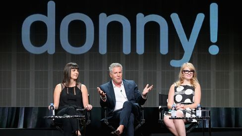 Executive producer Angie Day, TV personalities Donny Deutsch and Emily Tarver during the USA Networks' 'donny!' panel discussion at the NBCUniversal portion of the 2015 Summer TCA Tour at The Beverly Hilton Hotel on August 12, 2015.