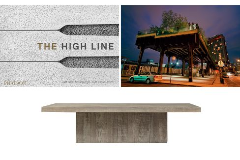 Pictured: The High Line at night, with construction under way for the new Whitney Museum (top); Restoration Hardware's reclaimed wood coffee table (bottom).