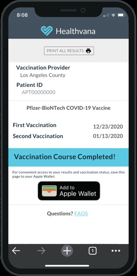 Los Angeles Vaccine Recipients Can Put the Proof in Apple Wallet