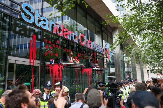 Climate Protesters Deface StanChart's Headquarters in London
