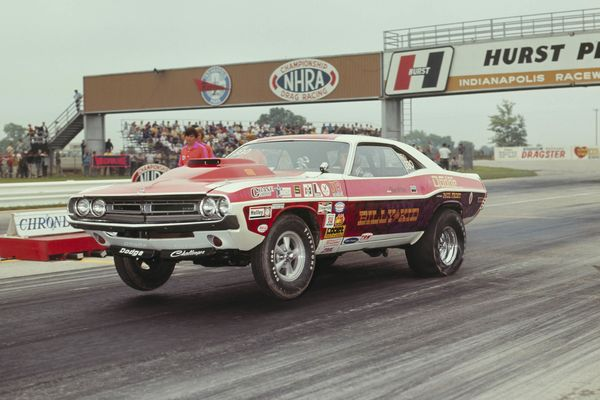 "UNITED STATES - SEPTEMBER 11:  1972 NHRA Nationals - Indianapolis. Billy ""The Kid"" Stepp 1971 Dodge Challenger picks up it wheels during a Pro Stock run. (Photo by Craig Cutler/The Enthusiast Network/Getty Images)"