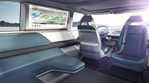 The interior of the Volkswagen BUDD-e concept automobile. Source: Volkswagen AG