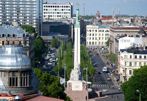 The Freedom Monument Stands in Riga