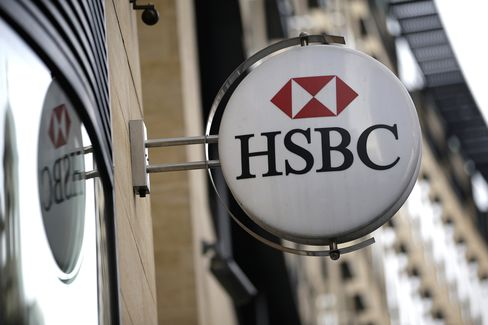 HSBC Logo Sits on a Sign Outside a Bank Branch in London