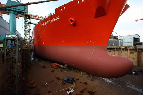 A Floating Storage and Regasification Unit vessel under construction in the dry dock at Ulsan.