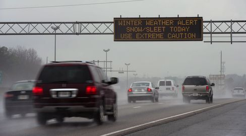 A Sign Warns Drivers of Hazardous Driving Conditions in Atlanta
