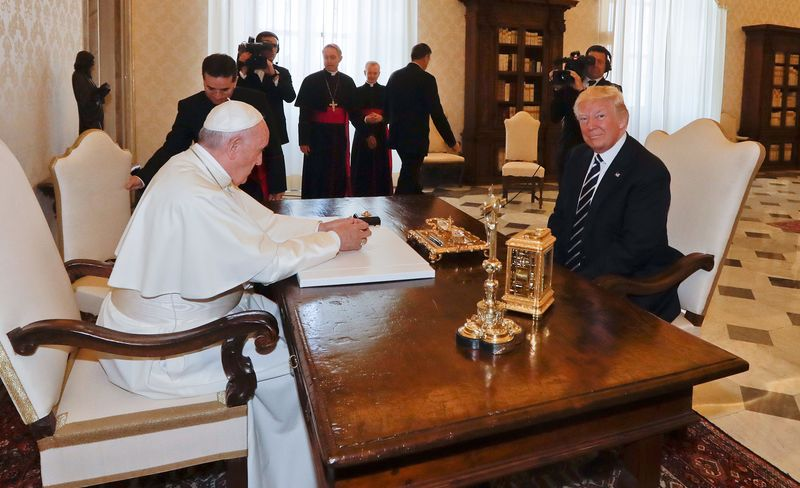 Pope Francis meets with President Donald Trump at the Vatican on May 24, 2017.