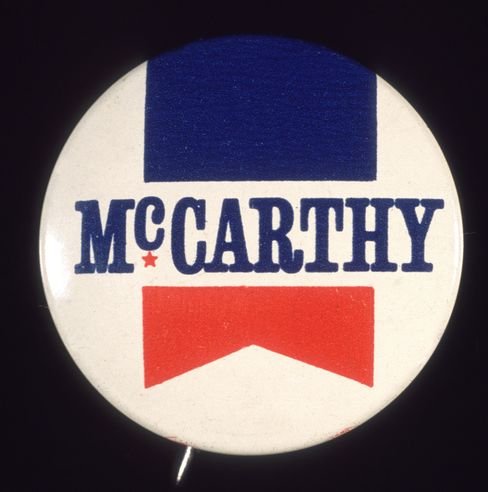 A Eugene McCarthy presidential campaign button.