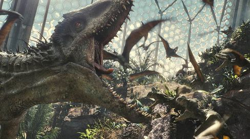 In Jurassic World's enclosed aviary, aggressive bird-like reptiles called Pteranodons flock to escape the jaws of Indominus Rex. Source: Universal Pictures and Amblin Entertainment via Bloomberg