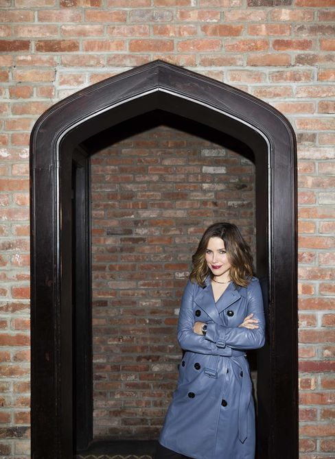 Sophia Bush at New York's Bowery Hotel. Lamskin trench by Burberry, silver necklace by Eddie Borgo, watch by Vacheron Constantin.