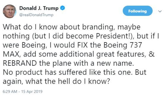Trump's Brand Advice Won't Solve Boeing's Woes