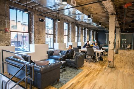 "Coworkrs: The founders wanted to infuse the space with the neighborhood's industrial Brooklyn chic. The motto: ""At Home at Work."""