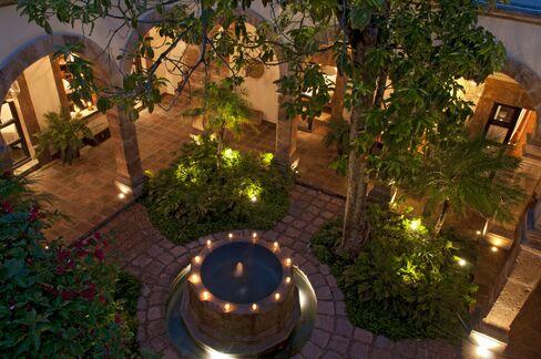 The interior courtyard at night.