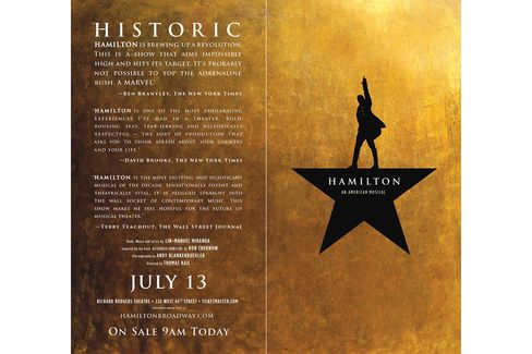 The final poster for the hit-musical Hamilton.