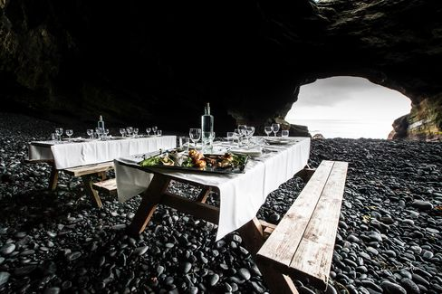 A feast inside the Thrihnukagigur Volcano in Iceland.