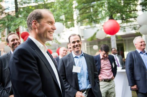 Christophe Weber and other gueats at the Takeda Innovation Networking reception in Boston.