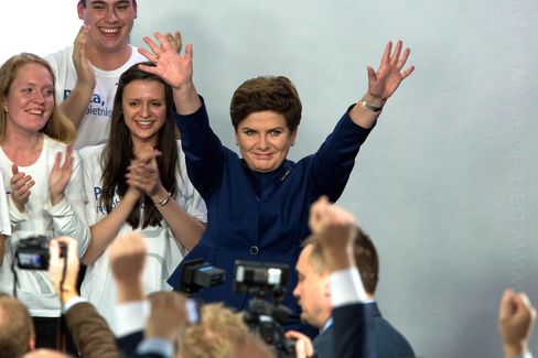 Beata Szydlo celebrates winning the Parliamentary election at the headquarters of the Law and Justice Party on Oct. 25, in Warsaw, Poland.
