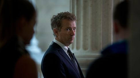 Senator Rand Paul pauses during a television interview at the Russell Senate Office building on Capitol Hill in Washington on Oct. 29, 2015.