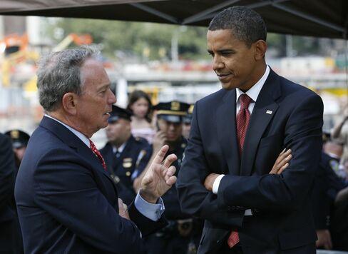 New York Mayor Bloomberg Backs Obama in U.S. Presidential Race