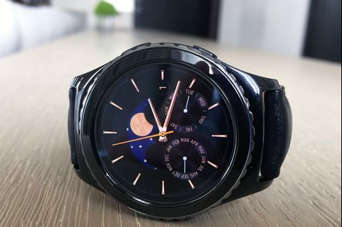 The Samsung Gear S2 Classic has a smaller 40mm diameter and a knurled ceramic bezel.