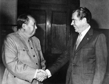President Richard Nixon, a fierce anti-communist, broke the ice with Chairman Mao Zedong by traveling to Beijing in 1972.