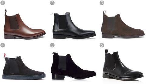 (1) Ellis brown chelsea boots, Jack Erwin, $220, jackerwin.com;(2) Black chelsea boots, Common Projects, $540,thecorner.com;(3) Ruddington suede chelsea boot, Ralph Lauren $995,ralphlauren.com;(4) Navy suede chelsea boots, Del Toro, $350,deltoroshoes.com;(5) Formal ankle boots, Tom Ford $1,590,tomford.com;(6) Black chelsea boots, Theory, $475,bloomingdales.com.