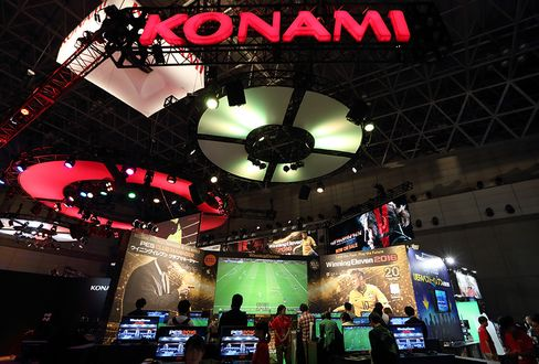 The Konami booth stands at the Tokyo Game Show 2015 in Chiba, Japan.
