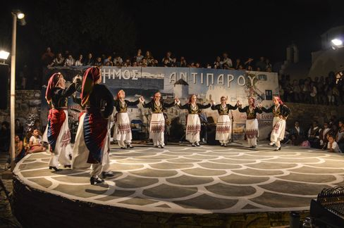 A traditional dance performance in Antiparos.