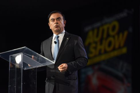 Carlos Ghosn speaks during the New York auto show.