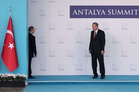 Vladimir Putin and Recep Tayyip Erdogan during the G20 Turkey Leaders Summit