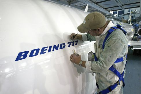 The final touches are applied to a Boeing 717.