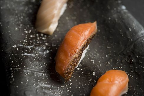 Gently smoked coho salmon at Sushi Nakazawa's new lounge, where you order a few flights of fish a la carte.