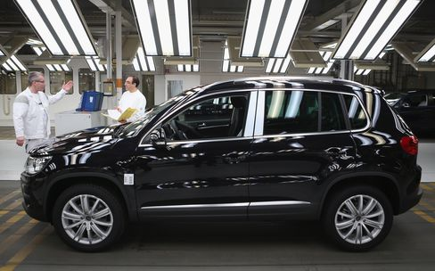 A VW Tiguan SUV Sits on the Production Line in Wolfsburg