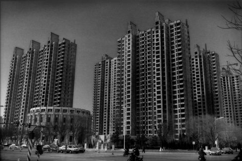 A sign of the property bubble: a half-built high-rise in Xingtai.