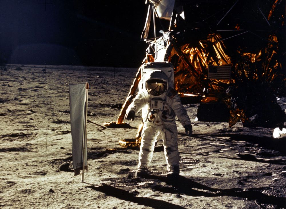 Astronaut Edwin Aldrin walks on the moon on July 20, 1969.