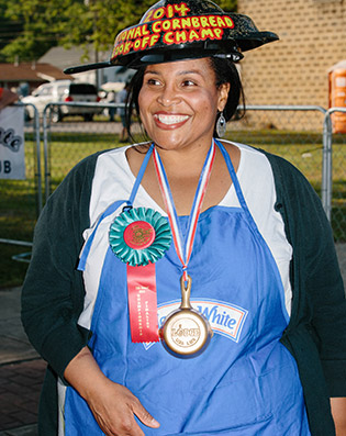 The winner of the cornbread cook-off, Andria Gaskins