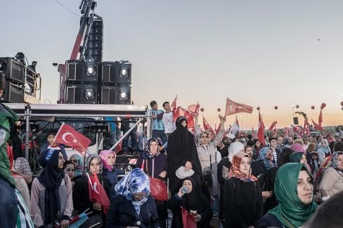 AKP supporters attend the 562nd anniversary of the Turks' conquest of Istanbul in Yenikapi Square.