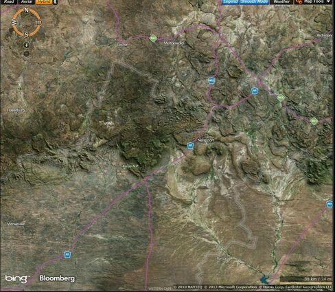 Map: Part of South Africa's semi-arid Karoo region