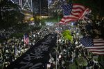 Demonstrations gather during a rally in support of the Hong Kong Human Rights and Democracy Act in Hong Kong on Oct. 14.