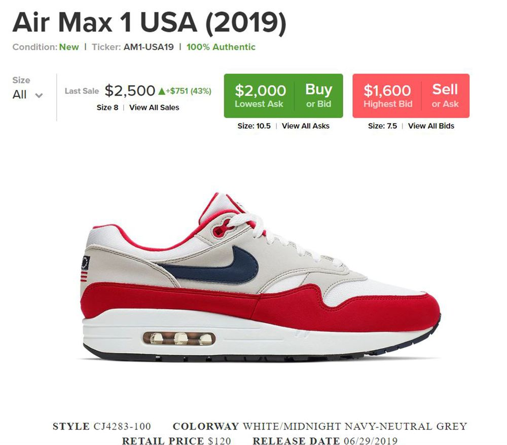 e3807194 relates to Nike Flag Shoes Selling for $2,500 on Secondary Market StockX