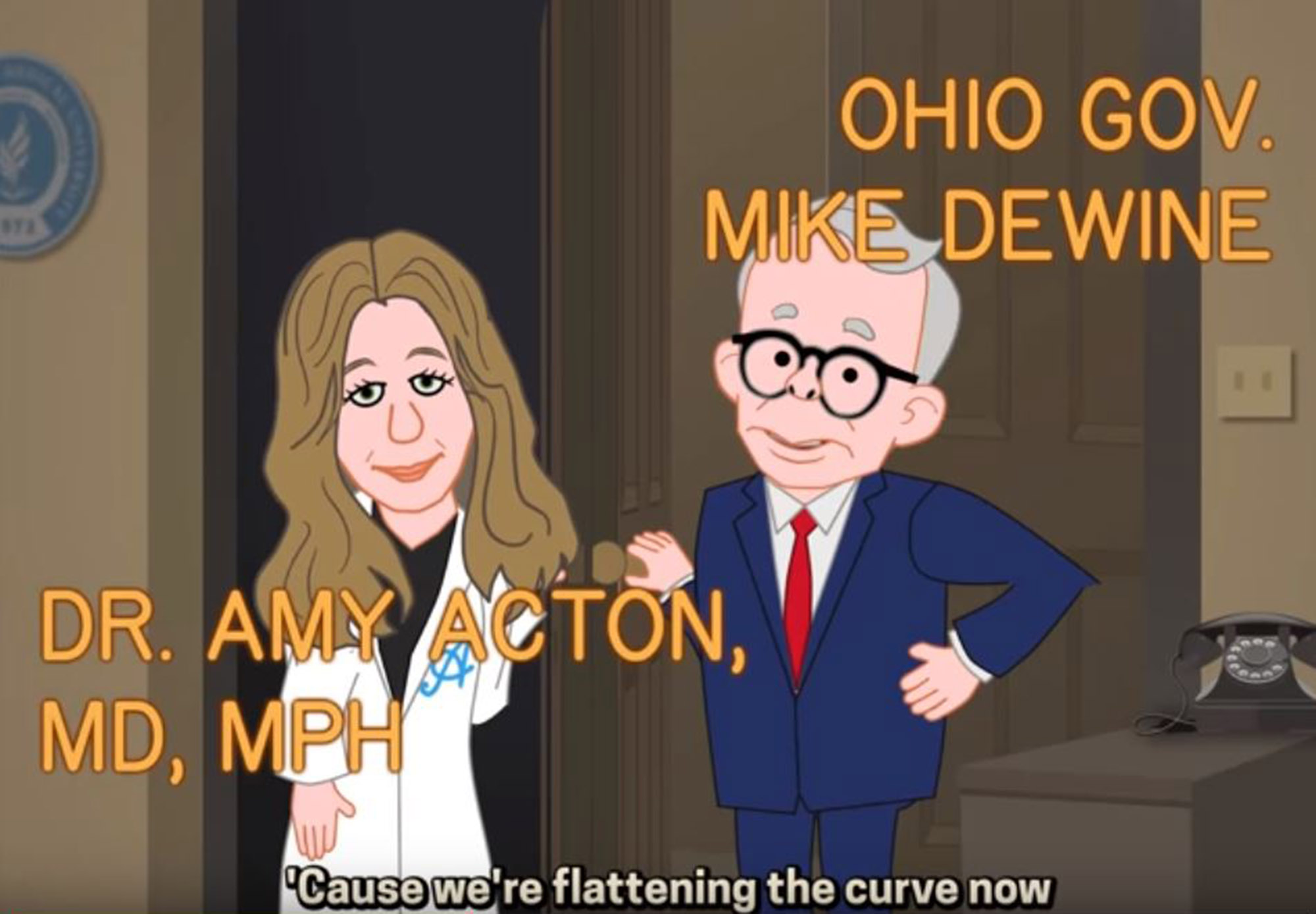 An animated Amy Acton and Mike DeWine in Stofka Creative's video.