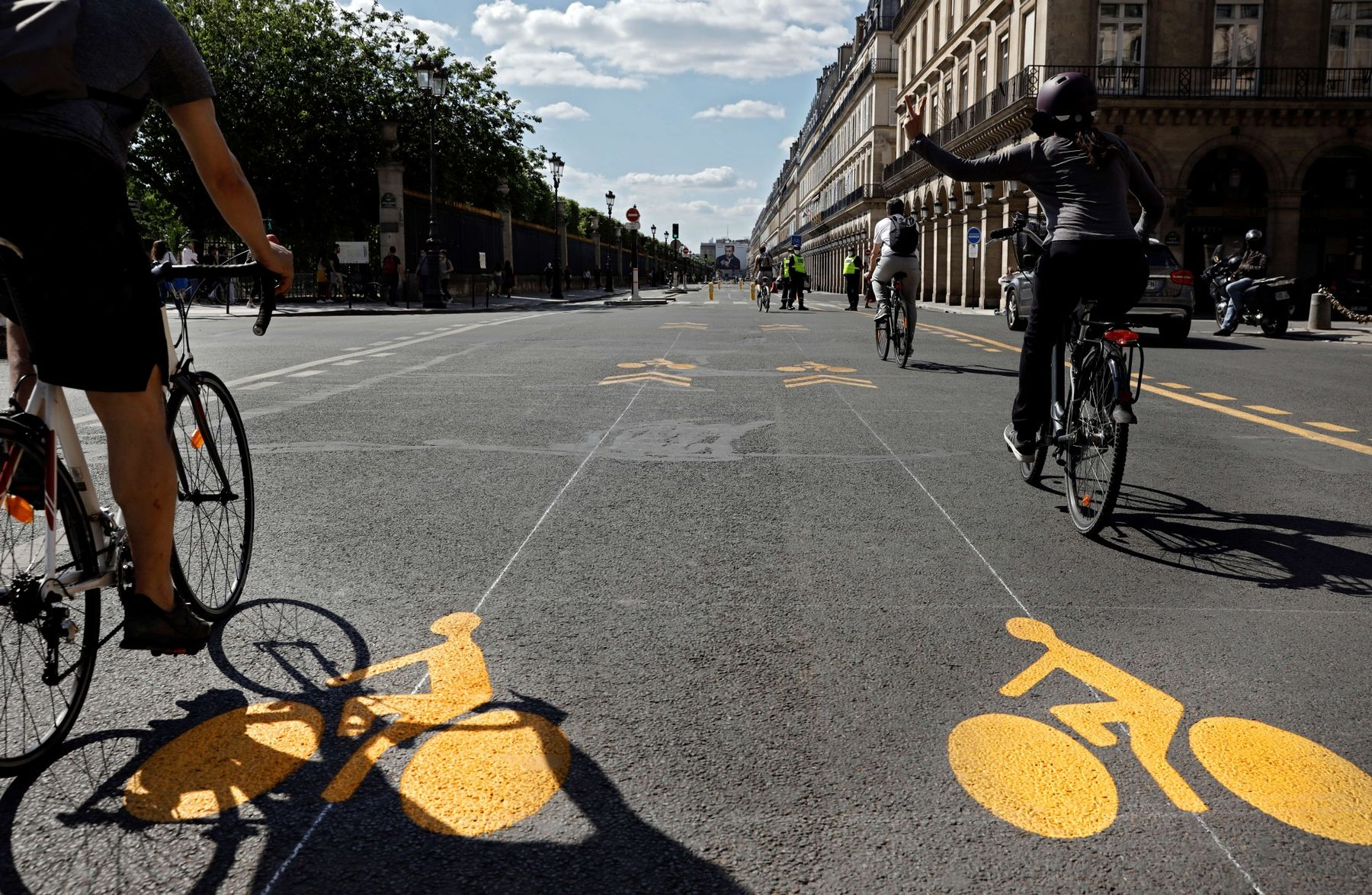 A new dedicated bike lane on the Rue de Rivoli in Paris, where Mayor Anne Hidalgo has heavily promoted bike- and pedestrian-friendly infrastructure.