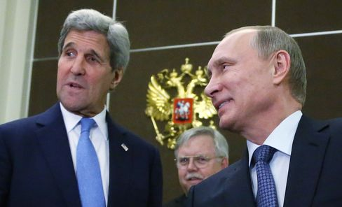John Kerry and Vladimir Putin