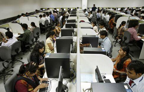 Engineering recruits undergo training at the Tata Consultancy Services training center in Trivandrum.