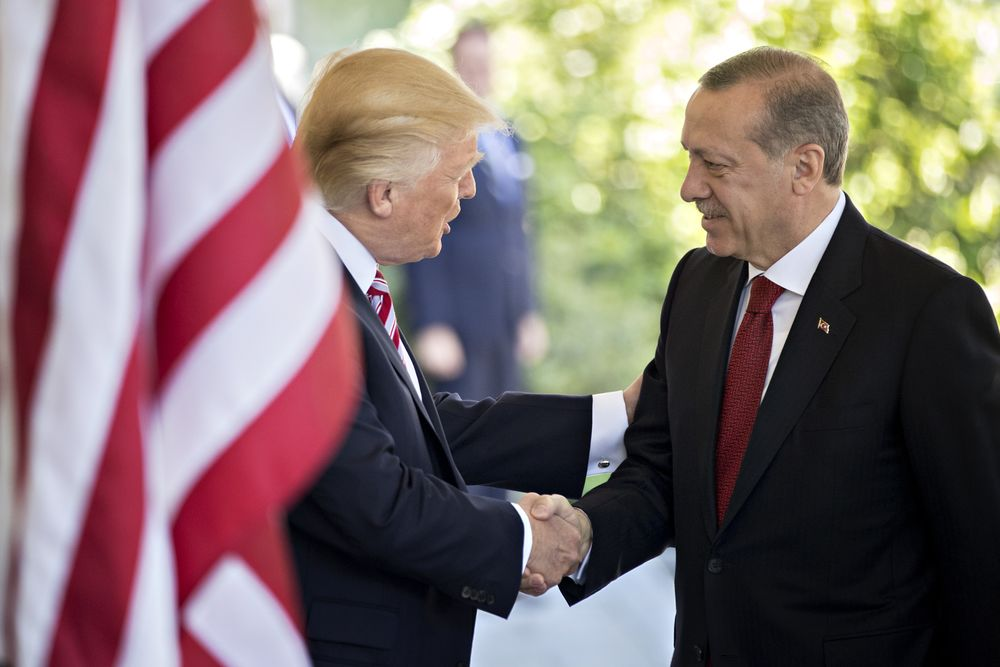 Donald Trump shakes hands with Recep Tayyip Erdogan the White House in Washington on May 16, 2017.