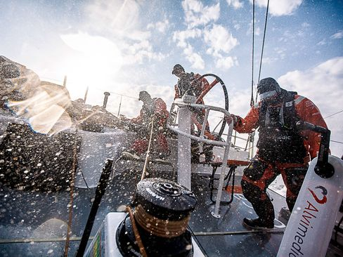 Rough upwind conditions greet Team Alvimedica upon entering the Bay of Biscay during the sailing of Leg 8 from Lisbon to L'Orient on June 9, 2015.