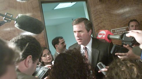 Florida Governor Jeb Bush speaks to reporters after meeting with the Florida State Cabinet at the Florida State Capitol Building November 16, 2000 in Tallahassee, FL.