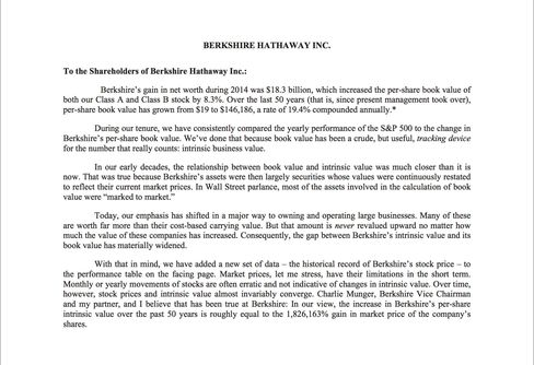 Warren buffett 39 s letter is out bloomberg for Cover letter for bloomberg